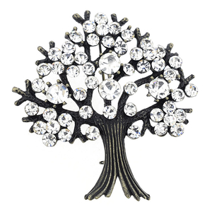 Crystal Tree-in-Full-Bloom Pin Brooch