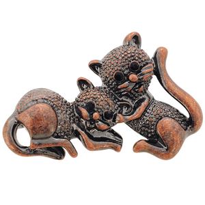 Two Cats Kitty Pin Brooch