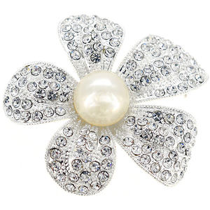 Crystal Flower Wedding Pin Brooch