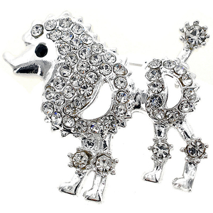 Crystal Poodle Dog Pin