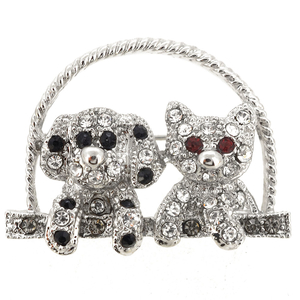 Silver Dog And Kitty Pin Brooch