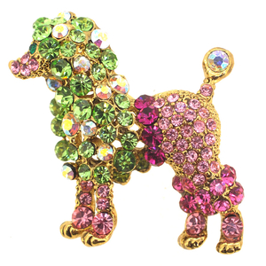 Multicolor Poodle Crystal Animal Pin Brooch