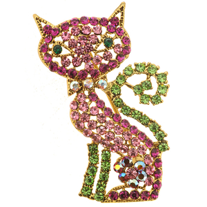 Pink Cat Kitty Crystal Pin Brooch