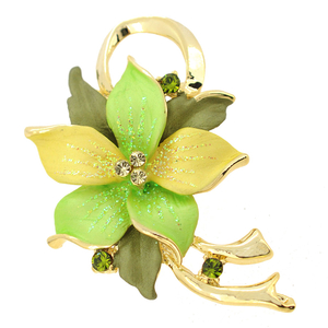 Green Poinsettia Christmas Star Swarovski Crystal Flower Pin Brooch Pendant