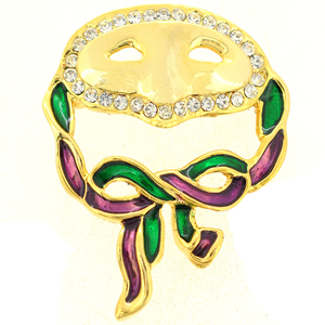 Masquerade Mask Crystal Brooch Pin