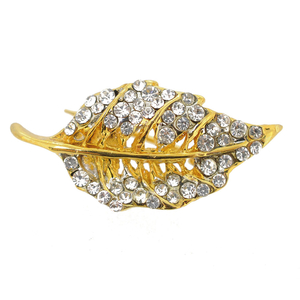 Golden Crystal Fall Leaf Brooch Pin