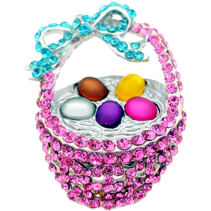 Pink Easter Basket Crystal Brooch Pin