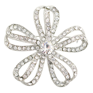Silver Weaved Ribbon Flower Brooch Pin