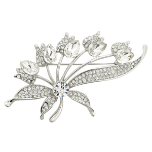 Silver Abstract Dandelion Flower Brooch Pin
