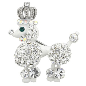 White Crystal Royal Poodle Brooch