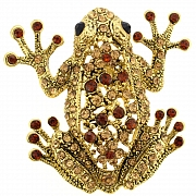 Vintage Style Smoked Topaz Frog Pin