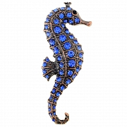 Vintage Style Sapphire Seahorse Pin Aquatic Pin Brooch
