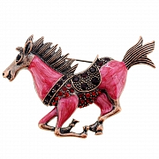 Enamel Ruby Mustang Pin Animal Pin Brooch