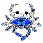 Sapphire Blue Crab Pin Brooch