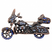Sapphire Harley Davidson Motorcycle Sports Pin Brooch