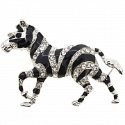 Black Enamel Zebra Brooch