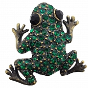 Emerald Vintage Style Green Frog Pin Austrian Crystal Animal Pin Brooch