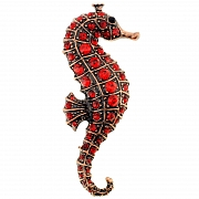 Ruby Red Seahorse Pin Brooch