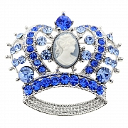 Sapphire Cameo Crown Pin Brooch