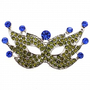 Green Blue Masquerade Mask Pin Brooch