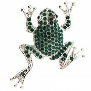 Emerald Green Crystal Frog Pin Brooch