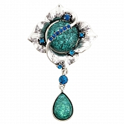 Blue Flower Wedding Cake Pin Austrian Crystal Pin Brooch And Pendant(Chain Not Included)