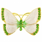 Enamel White Wings Butterfly Pin Brooch