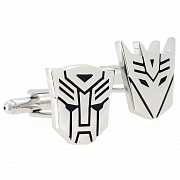 Sliver Autobot And Decepticon Transformer Cufflinks