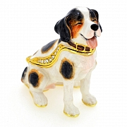 Smiling Beagle Dog Trinket Box with Swarovski Crystal