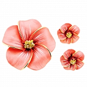 Peach Hawaiian Plumeria Swarovski Crystal Flower Pin Brooch And Earrings Gift Set