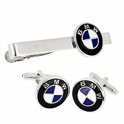 BMW Logo Automotive Car Black/Blue Cufflinks And Tie Clip Set