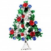 Multicolor Christmas Tree Crystal Lapel Pin