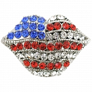 American Flag Lips Brooch