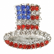 American Flag Top Hat Pin Brooch