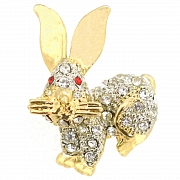 Golden Crystal Easter Bunny Pin Brooch