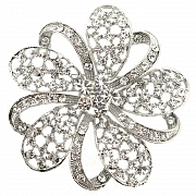 Silver Chrome Flower Crystal Pin Brooch