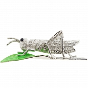 Crystal Grasshopper Pin Brooch