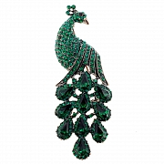 Vintage Style Emerald Green Peacock Pin Brooch