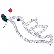 Dove With Red Rose Austrian Crystal Bird Pin Brooch