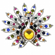 Multicolor Austrian Crystal Peacock Brooch Pin