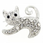 Silver Cat Pin Animal Pin Brooch
