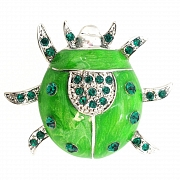 Emerald Beetle Bug pins Austrian Crystal Green Enamel Insect Brooches and pins