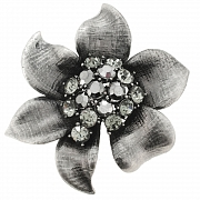 Vintage Style Black Flower Pin Austrian Crystal Pin Brooch