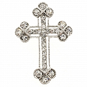 Silver Cross Pin Austrian Crystal Pin Brooch And Pendant(Chain Not Included)