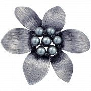 Dark Grey Pearl Flower Pin Brooch