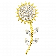 Golden Crystal Sunflower Pin Flower Pin Brooch