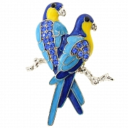 Sapphire Blue Couple Parrot Bird Pin Brooch
