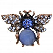 Sapphire Blue Lady Bug with Opal Austrian Crystal Insect Pin Brooch