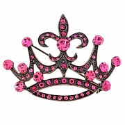 Vintage Style Rose Crown With Fleur-De-Lis Sign Pin Brooch