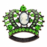 Vintage Style Erinite Cameo Crown Pin Brooch